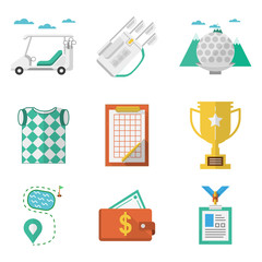 Colored vector icons for golf