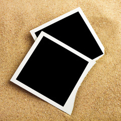 Photo frame on sand background, path inside frame