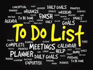 Word cloud of TO DO LIST related items, vector