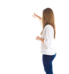 woman pointing to the lateral