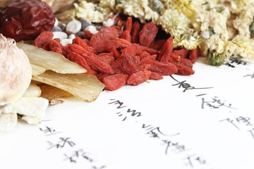 Chinese herbal medicine on the recipe paper