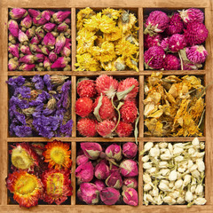 Wooden box with assorted flower tea