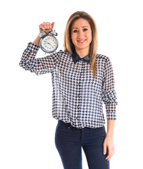Woman holding vintage clock