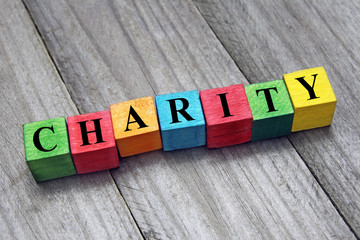 concept of charity word on wooden cubes