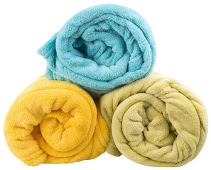 three blankets isolated