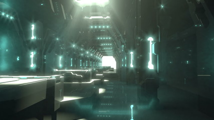 Science fiction futuristic interior a way to the light door