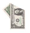 Folded one dollar banknote isolated on white background