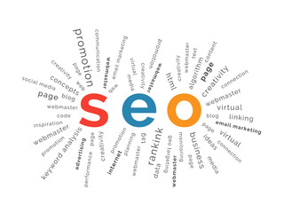 SEO concept in tag cloud