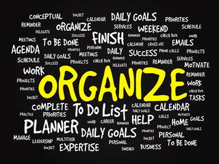 Word cloud of ORGANIZE related items, vector presentation