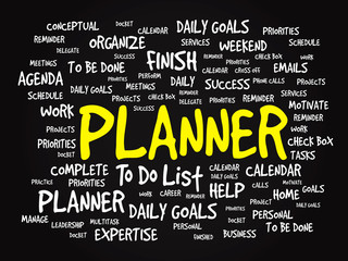 Word cloud of PLANNER related items, vector presentation