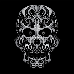 Scull, abstract vector illustration isolated on black background