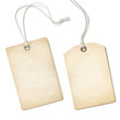 Leinwandbild Motiv Blank old paper cloth tag or label set isolated on white