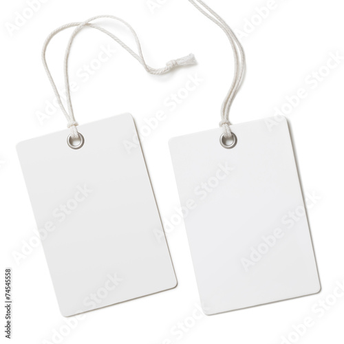 Leinwanddruck Bild Blank paper label or cloth tag set isolated