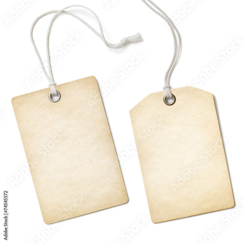 Blank old paper cloth tag or label set isolated on white - 74545572