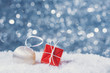 Christmas decoration in snow on abstract background