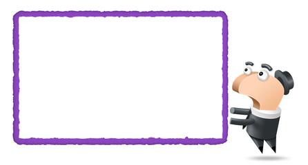 Polygone - Fond Blanc -Etiquette violette