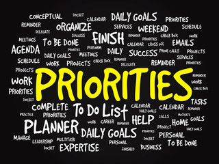 Word cloud of PRIORITIES related items, vector presentation