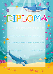 Diploma for children with dolphin and shark