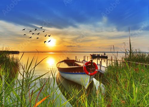 embarcadero de madera en un rincon del lago - 74546100