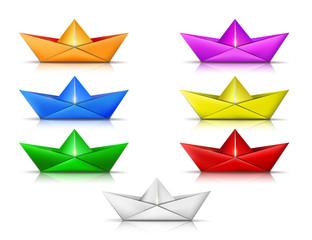 bunte papier schiffe, origami set