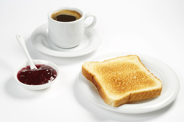Toast bread with jam and coffee