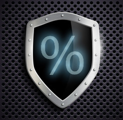 metal shield which shows the percent sign