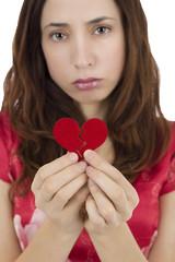 Unhappy heartbroken woman