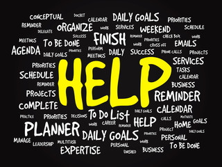 Word cloud of HELP related items, vector presentation