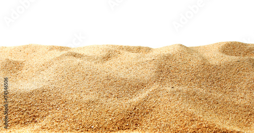 Poster Zandwoestijn Sand dunes isolated on white background