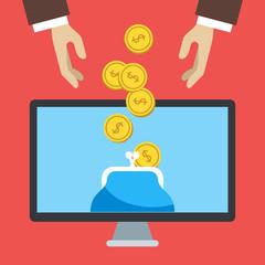 Flat design vector illustration of online banking