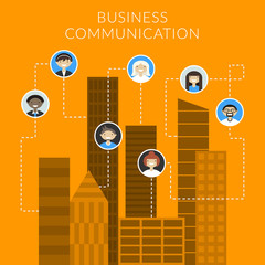 Business communication concept in flat style