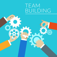 Flat design concept for team building