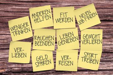 klebezettel Post-it, Gute Vorsätze Neues Jahr, neue ziele