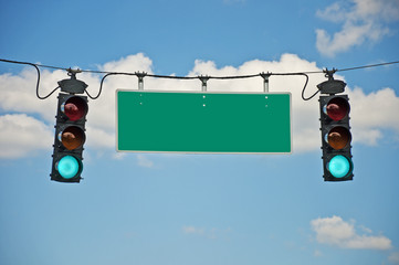 Go Traffic Lights With Blank Sign