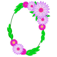 Colorful floral oval frame of chrysanthemumes