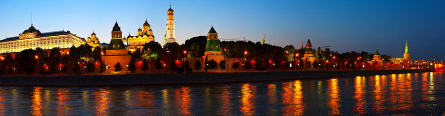 Panorama of Moscow Kremlin in summer night