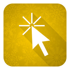 click here flat icon, gold christmas button