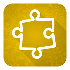 puzzle flat icon, gold christmas button
