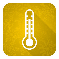 thermometer flat icon, gold christmas button, temperature sign