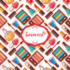 colorful background with cosmetics