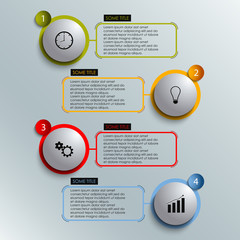 Info graphic colored round element work template