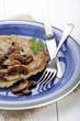 potato pancake on a blue plate