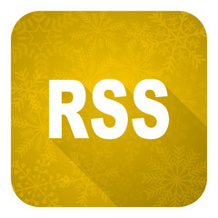 rss flat icon, gold christmas button