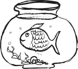 cartoon fish and home aquarium