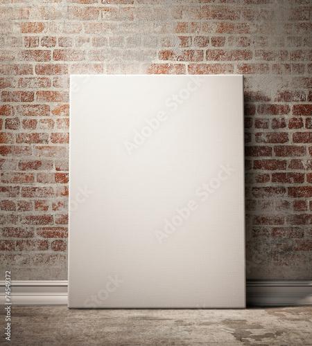 Leinwanddruck Bild mock up poster and canvas in vintage interior background