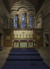 Interior of a chapel with wood paneling