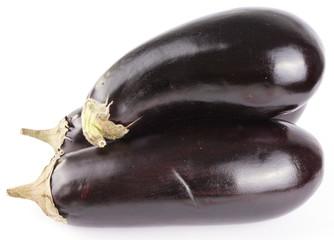 3 eggplants isolated