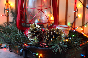 Cones and Christmas tree branch in the  composition.
