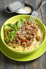 Bowl of spaghetti with bolognese sauce..