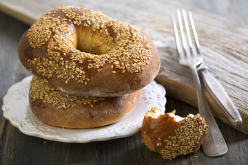 Delicious bagels with sesame seeds.